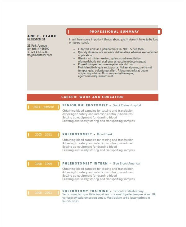 Phlebotomy Resume Template - 6+ Free Word, PDF Documents Download ...
