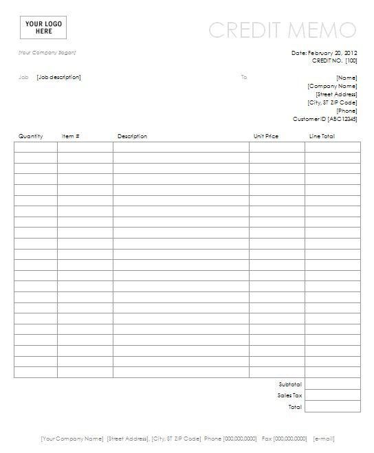 Credit Memo With Simple Lines Design