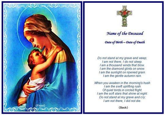 Christian Memorial Cards Samples