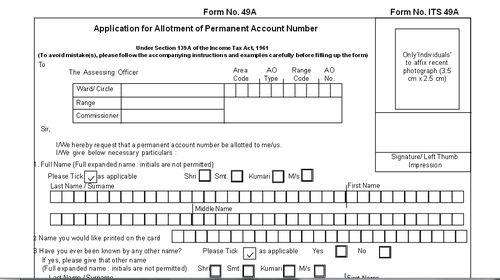 Pan Card Application Forms & Pan Card Correction Form Service ...