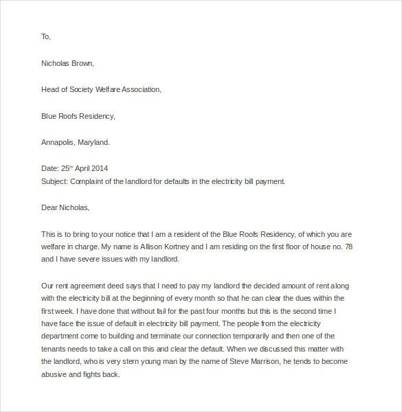 12+ Complaint Letter to Landlord – Free Sample, Example, Format ...