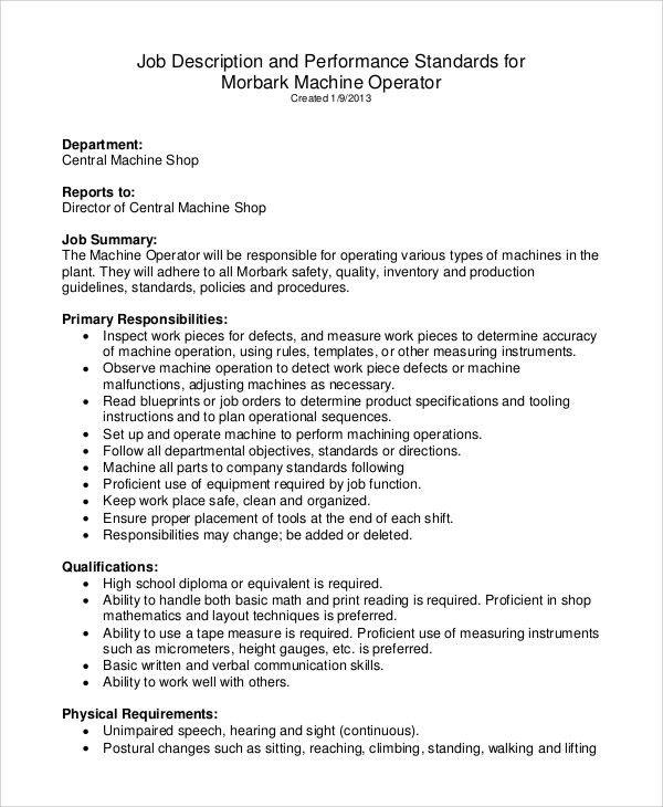 Sample Machine Operator Job Description - 8+ Examples in PDF