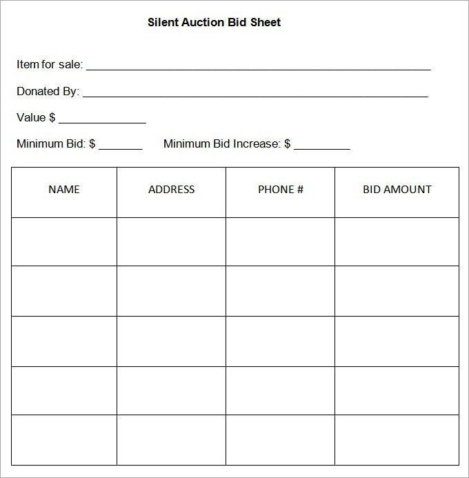 Silent Auction Bid Sheet Template - 29+ Free Word, Excel, PDF ...