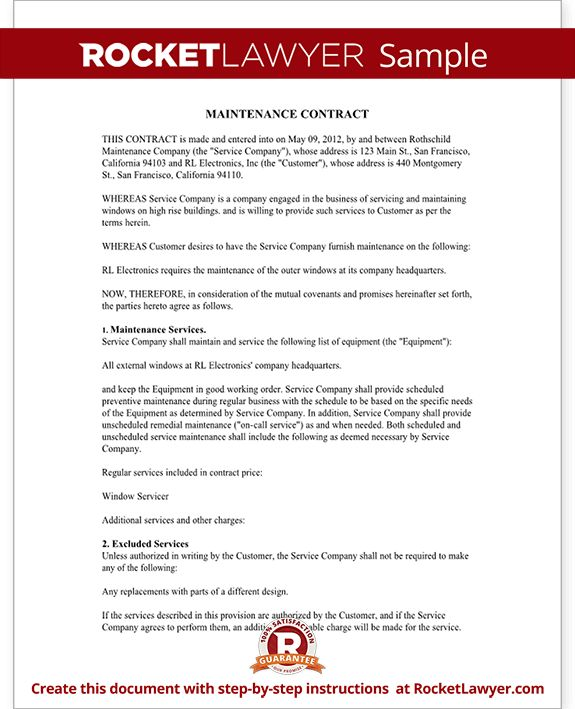 Maintenance Contract - Maintenance Service Contract Template (with ...