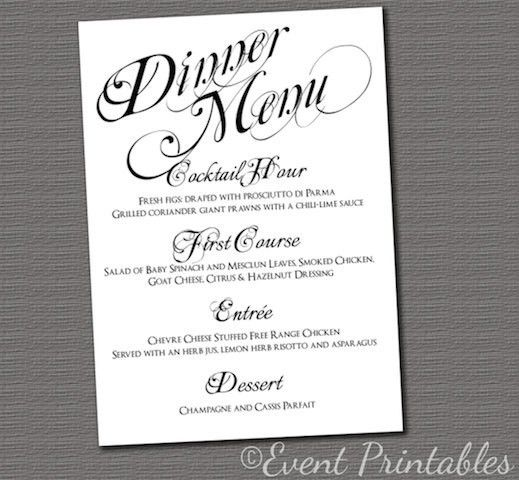 Sample | Menu | Pinterest | Diy wedding reception, Printable menu ...