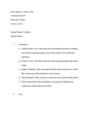Informative speech outline by Bailey Hughes - issuu