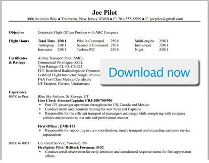 Pilot Resume Template. Pilot Resume Template Resume Templates And ...