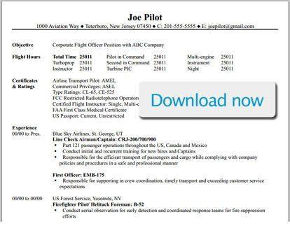 Professional Pilot Resume Template - BizJetJobs.com
