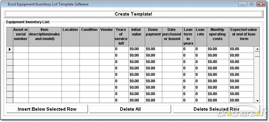 inventory template excel