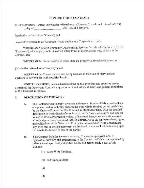 Construction Contract Forms [Template.billybullock.us ]