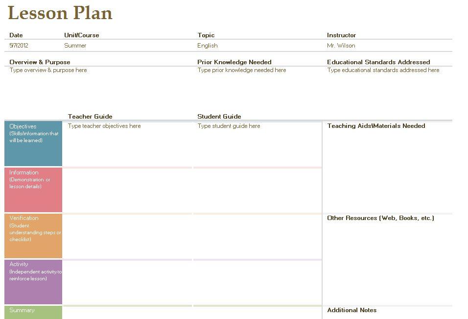 Lesson Plan Template | Fotolip.com Rich image and wallpaper