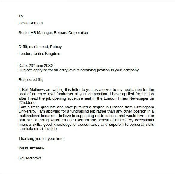 Entry Level Cover Letter - 7+ Free Samples , Examples & Formats