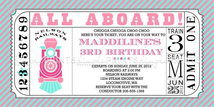 Girl Train Ticket Printable Invite - Dimple Prints Shop