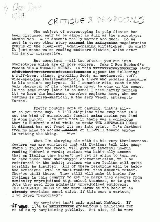 Chandler Davis - Critique & Proposals, 1949