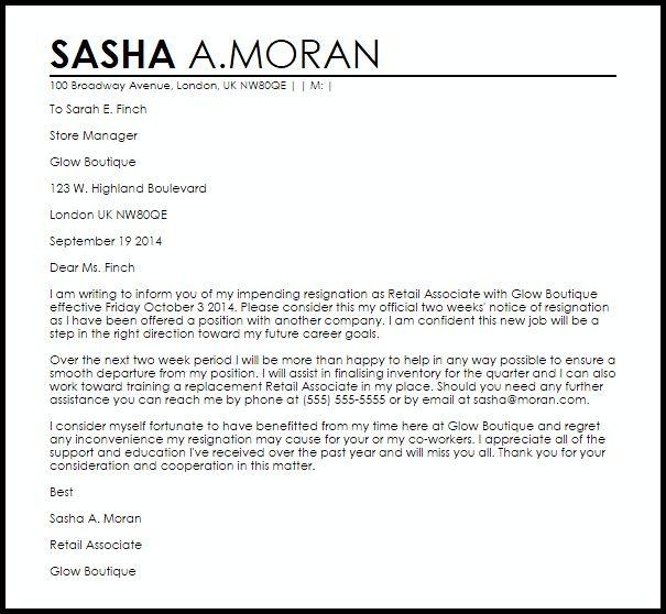 Retail Resignation Letter | Resignation Letters | LiveCareer