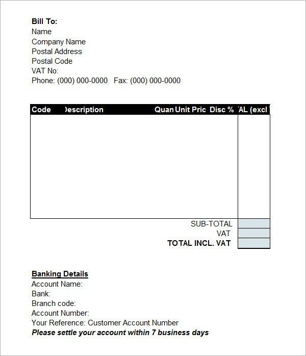 Invoice Sample Doc | invoice sample template