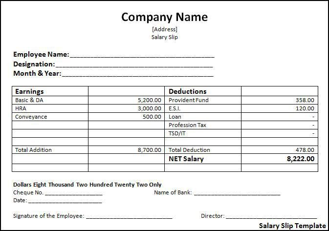 Download Sample of Salary Slip in Excel Format