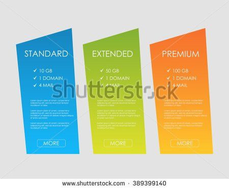 Price List Hosting Plans Web Boxes Stock Vector 395467048 ...
