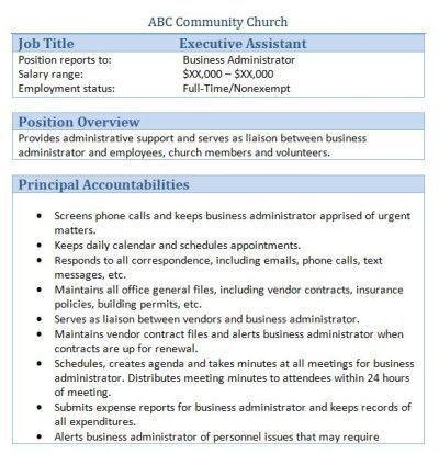 45 free downloadable sample church job descriptions job ...