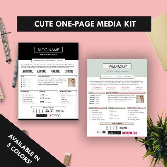 Cute One-Page Media Kit Template Press Kit Pastel Black