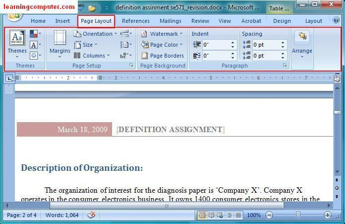 Microsoft Office Word 2007-Learn the Page Layout Tab in MS Word ...