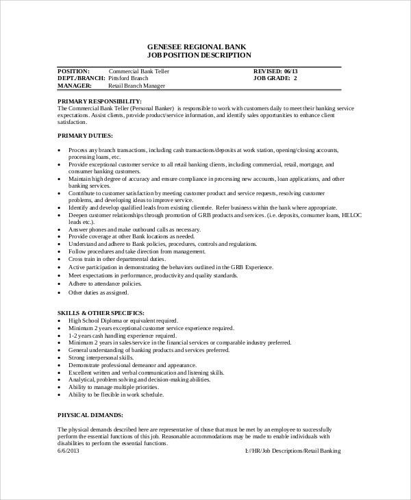 pnc bank teller job description free pdf template. teller job ...
