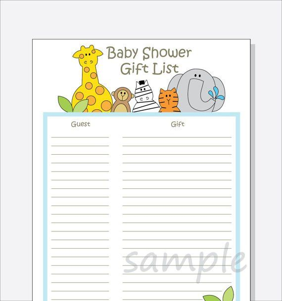 DIY Baby Shower Guest Gift List Printable Jungle Animals