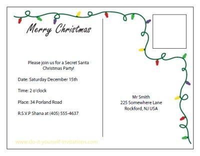 Printable Christmas Invitation Postcards