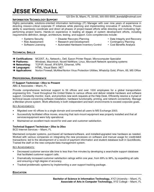 it technician resume