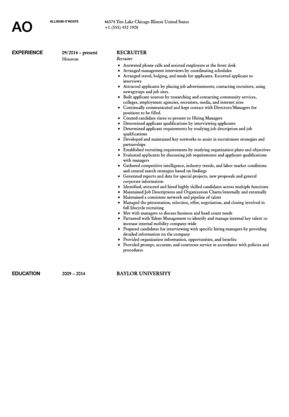 Recruiter Resume Sample | Velvet Jobs