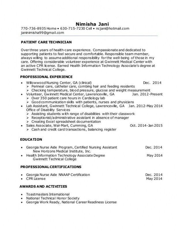 Patient Care Technician Resume With No Experience – Resume Examples