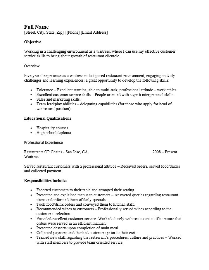 Cocktail Waitress Resume Example Professional Cocktail Server