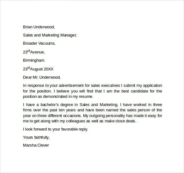 Sales Cover Letter –9+ Free Samples, Examples & Formats
