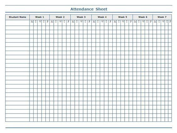 Minimalist Template of Weekly Attendance Sheet in Excel for ...