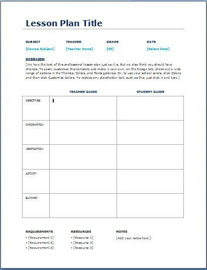Teacher Daily Lesson Planner Template | Formal Word Templates