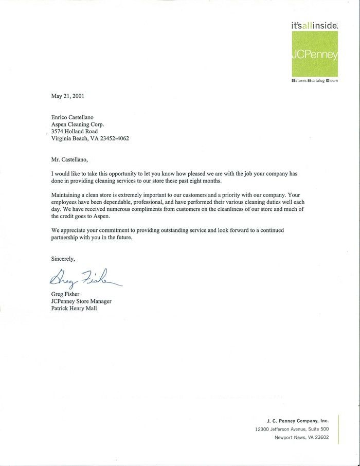 Letters of Recommendations- Aspen Cleaning Company, Norfolk