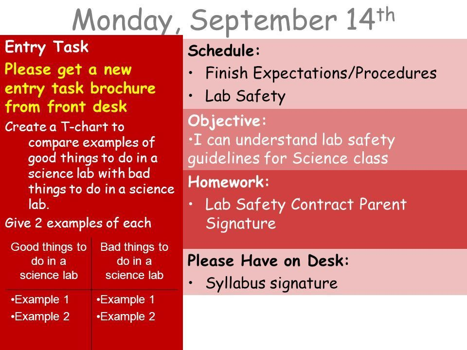 Monday, September 14 th Entry Task Please get a new entry task ...