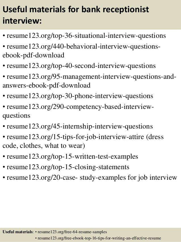 Top 8 bank receptionist resume samples