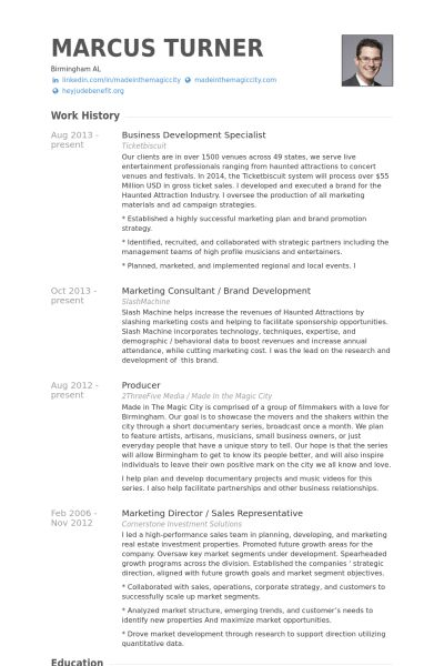 Business Development Specialist Resume samples - VisualCV resume ...