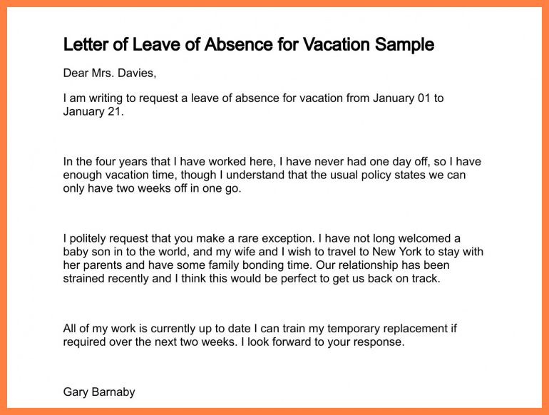 5+ application letter for vacation | Bussines Proposal 2017
