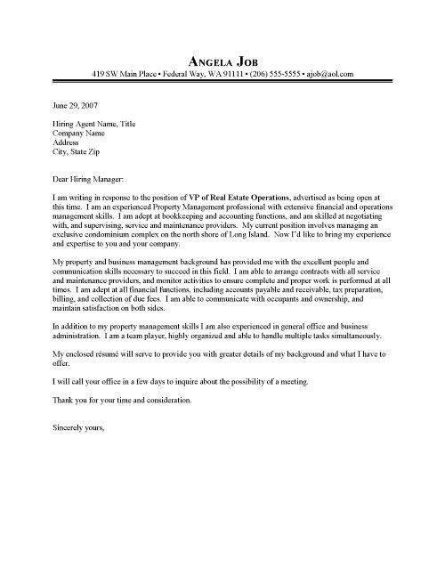 Property Manager Cover Letter Sample Resume Cover Letter for ...