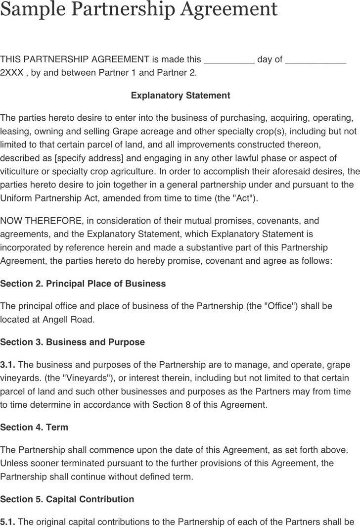 Sample Business Partnership Agreement. Free Arkansas Partnership ...