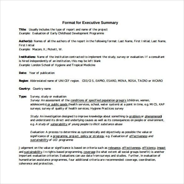 Sample Executive Summary For A Report  Executive Summary