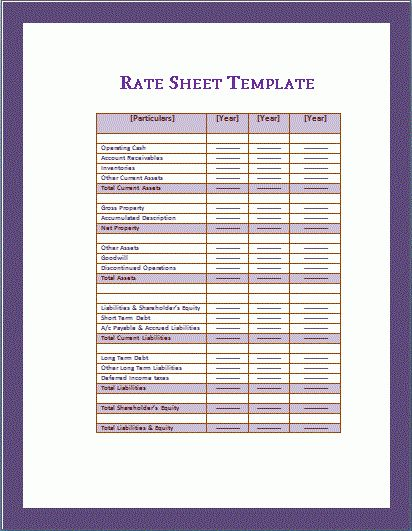 Rate Sheet Template | Free Microsoft Word Templates | Free ...