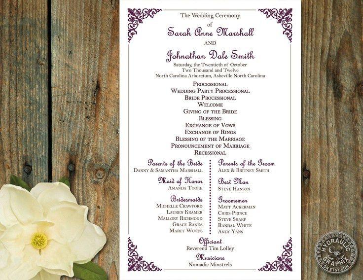 32 best Wedding Programs images on Pinterest | Wedding stuff ...
