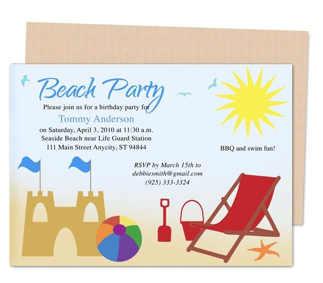 Kids Party Templates : Beach Design Birthday Party Invitations ...