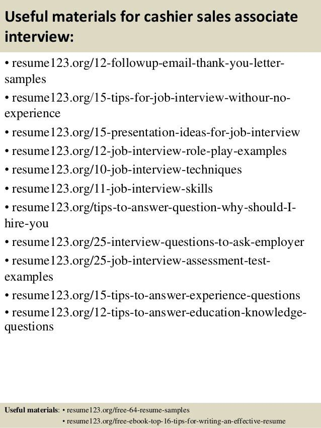 Top 8 cashier sales associate resume samples