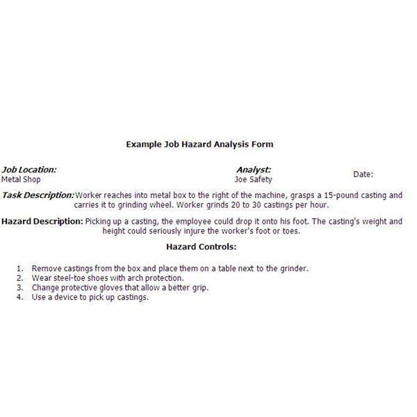 Sample Job Safety Analysis Form: Are You Compliant With Federal ...