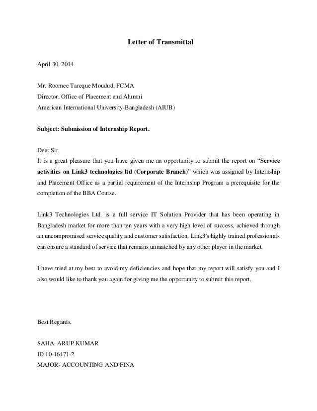 Letter of transmittal,acknowledgement,executive summary
