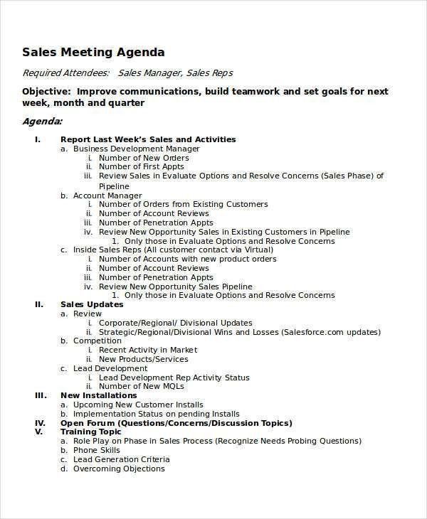 10+ Meeting Agenda Samples - Free Sample, Example Format Download ...
